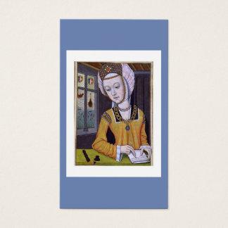 Cartão De Visitas A mulher medieval escrevendo uma letra