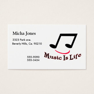 Cartão De Visitas A música é smiley da nota musical da vida