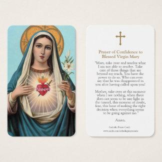 Cartão De Visitas A oração da Virgem Maria carda o coração sagrado 1