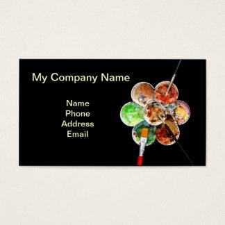 Cartão De Visitas A paleta do pintor com cores múltiplas e escovas