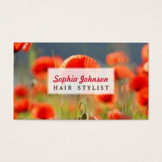 Cartão De Visitas A papoila vermelha das papoilas floresce o céu