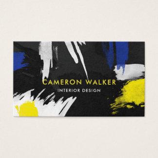 Cartão De Visitas A pintura espirra - amarelo & azul