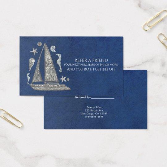 Cartão De Visitas A praia de prata náutica do barco elegante