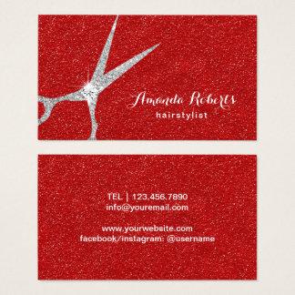 Cartão De Visitas A prata do cabeleireiro Scissor o salão de beleza
