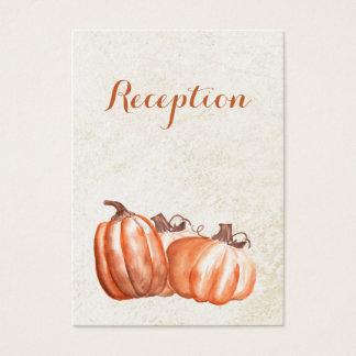 Cartão De Visitas a recepção de casamento outono das abóboras da