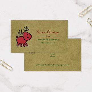 Cartão De Visitas A rena vermelha do Natal tempera cumprimentos