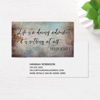 """Cartão De Visitas A """"vida é citações de Helen Keller de uma aventura"""
