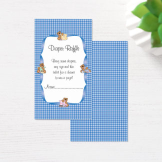 Cartão De Visitas A xadrez azul do país com bebê carrega o Raffle da