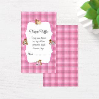 Cartão De Visitas A xadrez cor-de-rosa com bebê carrega o Raffle da