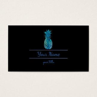 Cartão De Visitas abacaxi azul e preto elegante