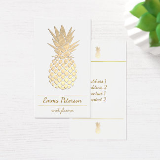 Cartão De Visitas abacaxi dourado no branco
