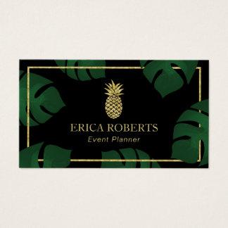 Cartão De Visitas Abacaxi moderno do ouro do planejador de evento