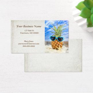 Cartão De Visitas abacaxi tropical nos óculos de sol