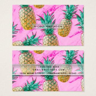 Cartão De Visitas Abacaxis tropicais & brilhante chique de mármore