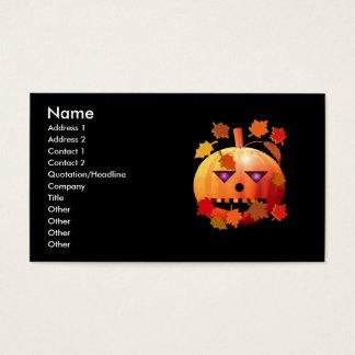 Cartão De Visitas Abóbora louca do Dia das Bruxas - tamanho do