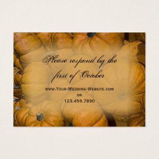 Cartão De Visitas Abóboras de outono alaranjadas que Wedding o
