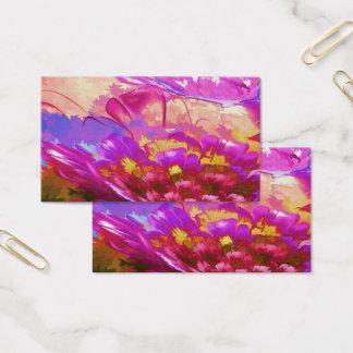 """Cartão De Visitas Abstrato floral, 3,5"""" x 2,0"""", resíduo metálico UV"""