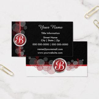 Cartão De Visitas Abstrato vermelho escuro, preto e branco