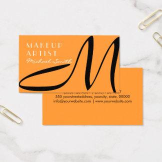 Cartão De Visitas Açafrão moderno do monograma à moda do maquilhador