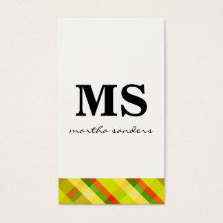Cartão De Visitas Acento de Argyle do monograma do Serif