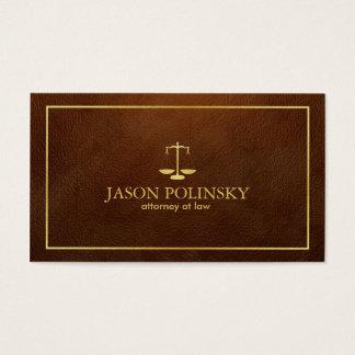 Cartão De Visitas Advogado de couro elegante e moderno de Brown
