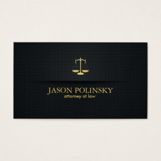 Cartão De Visitas Advogado elegante e moderno do preto e do ouro
