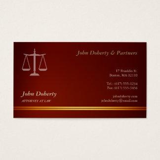 Cartão De Visitas Advogado elegante no vermelho da lei |