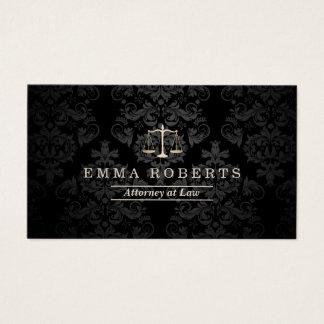 Cartão De Visitas Advogado no advogado escuro elegante do damasco da
