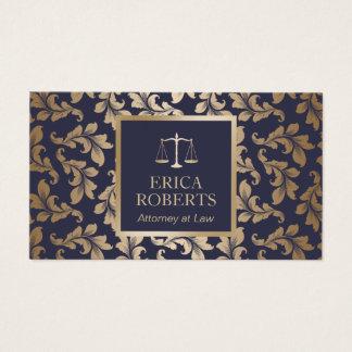 Cartão De Visitas Advogado no azul luxuoso da lei & advogado do
