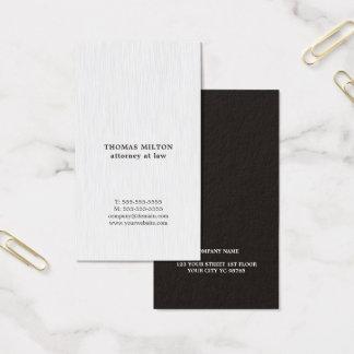 Cartão De Visitas Advogado preto branco da textura elegante moderna