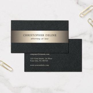 Cartão De Visitas Advogado preto elegante simples da listra do ouro