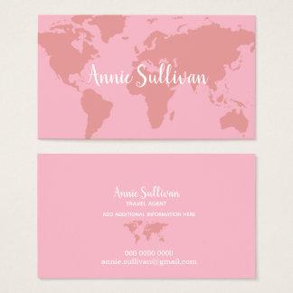 Cartão De Visitas agente de viagens cor-de-rosa elegante do mapa do