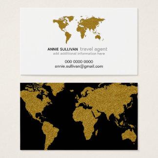 Cartão De Visitas agente de viagens moderno do prof. do mapa do