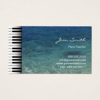 Cartão De Visitas Água do mar da praia do professor de piano da
