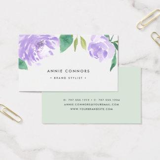 Cartão De Visitas Aguarela Amethyst da peônia | floral