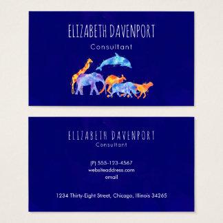 Cartão De Visitas Aguarela colorida do rebanho do animal selvagem