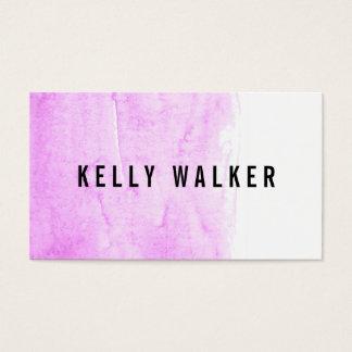 Cartão De Visitas Aguarela cor-de-rosa e preta mínima
