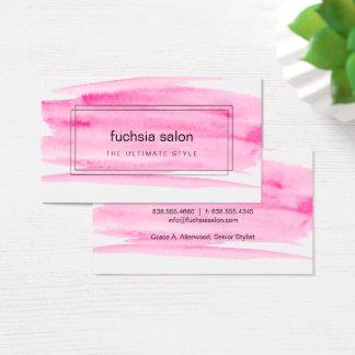 Cartão De Visitas Aguarela cor-de-rosa encaixotada