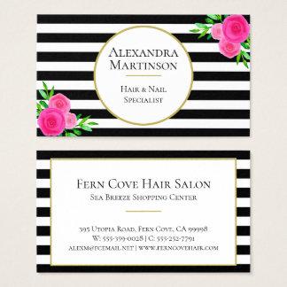Cartão De Visitas Aguarela cor-de-rosa listrada branca preta