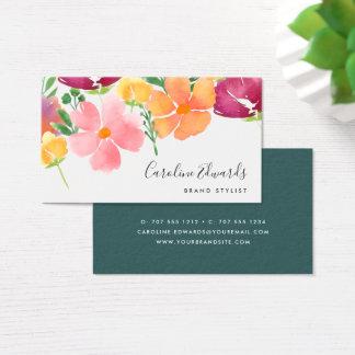 Cartão De Visitas Aguarela da papoila de Califórnia | floral