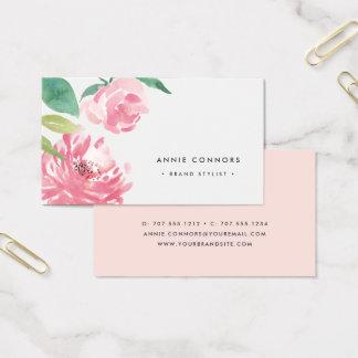 Cartão De Visitas Aguarela de florescência da peônia | floral