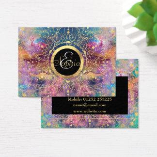 Cartão De Visitas Aguarela do ouro e mandala da nebulosa