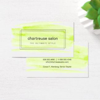 Cartão De Visitas Aguarela do verde limão encaixotada