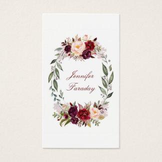Cartão De Visitas Aguarela floral de Borgonha