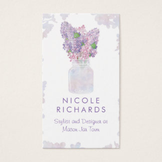 Cartão De Visitas Aguarela floral do buquê do frasco de pedreiro do