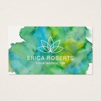 Cartão De Visitas Aguarela floral do logotipo de Lotus do instrutor