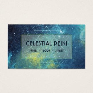 Cartão De Visitas Aguarela moderna | Reiki da galáxia da nebulosa