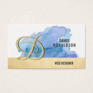 Cartão De Visitas Aguarela Monogrammed profissional do azul do ouro