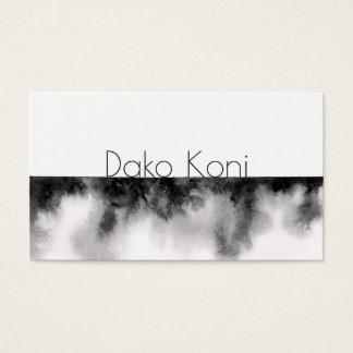 Cartão De Visitas Aguarela preto e branco minimalista
