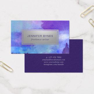 Cartão De Visitas Aguarela roxa & azul - prata do falso